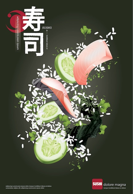 Cartaz, de, restaurante sushi, vetorial, ilustração Vetor Premium