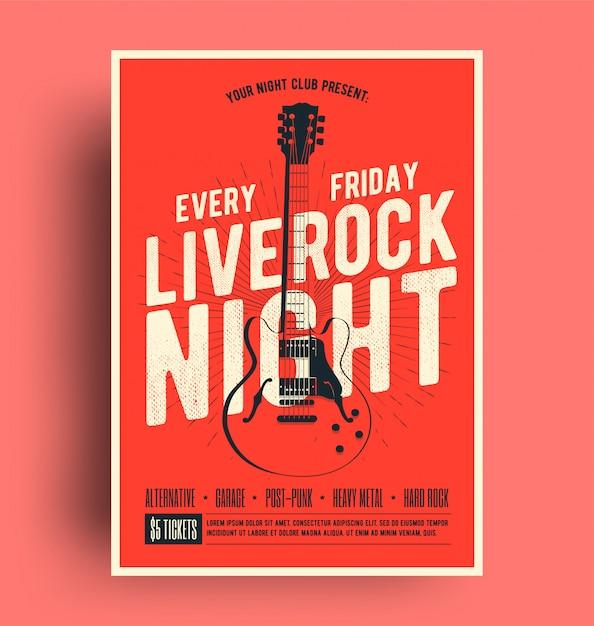 Cartaz de rock live night com panfleto de promoção de música ao vivo Vetor Premium