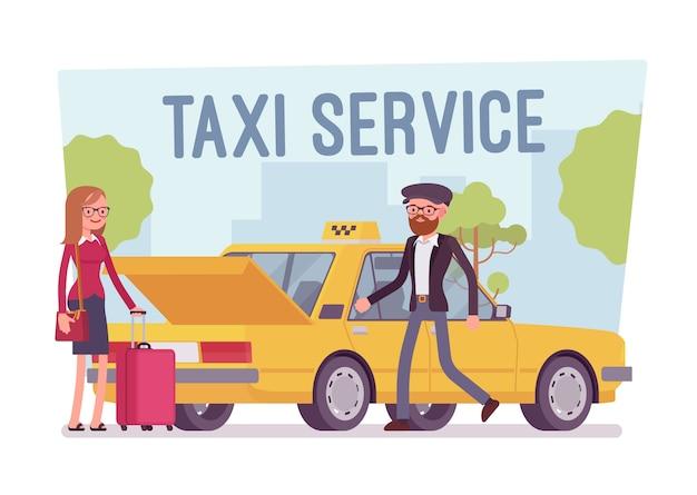 Cartaz de serviço de táxi Vetor Premium
