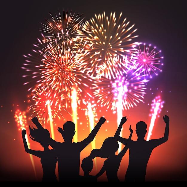 Cartaz de silhuetas humanas festivo preto de fogo de artifício Vetor grátis
