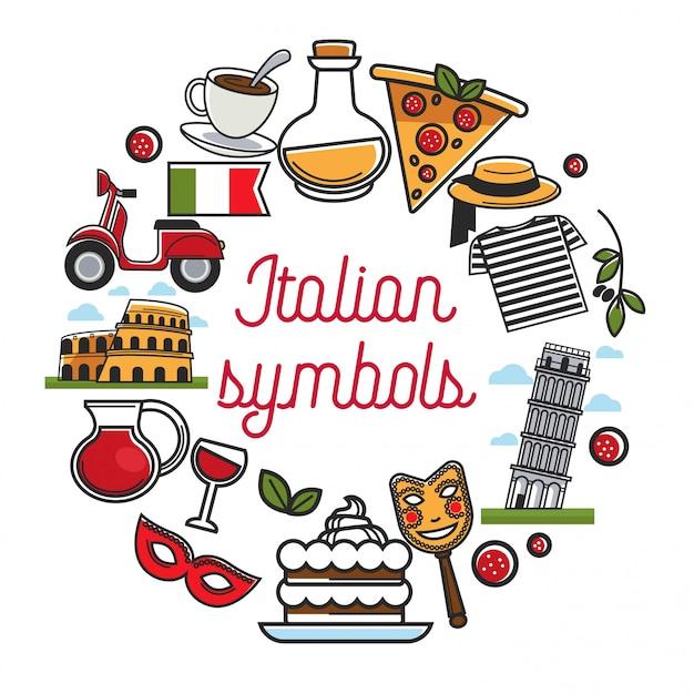 Cartaz de símbolos italianos com arquitetura nacional e cozinha Vetor Premium