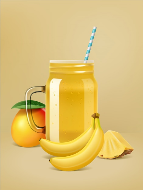 Cartaz de smoothie de frutas de vetor realista. Vetor Premium