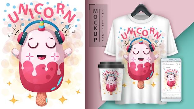 Cartaz de sorvete de unicórnio e merchandising Vetor Premium