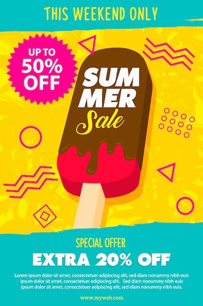 Cartaz de sorvete derretendo Vetor Premium