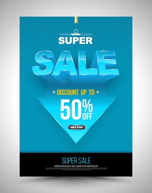 Cartaz de super promoção azul desconto até 50% com seta Vetor Premium