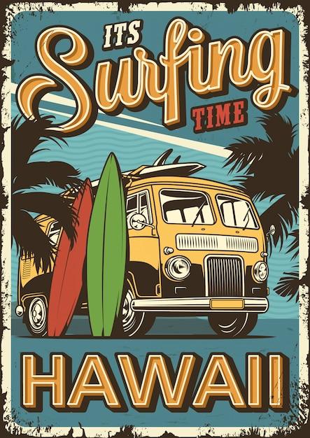 Cartaz de surf vintage Vetor grátis