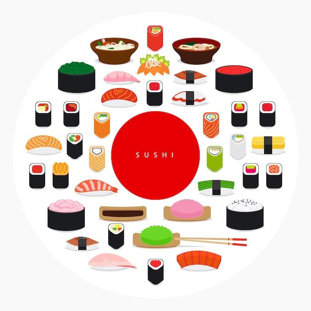 Cartaz de sushi de comida japonesa Vetor Premium