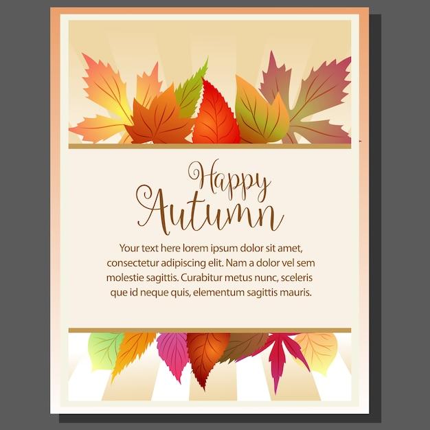 Cartaz de tema outono feliz com folhas sazonais Vetor Premium