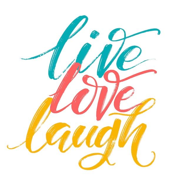 Cartaz de tipografia desenhada de mão. inspiradora citação viver amor rir à mão. Vetor Premium