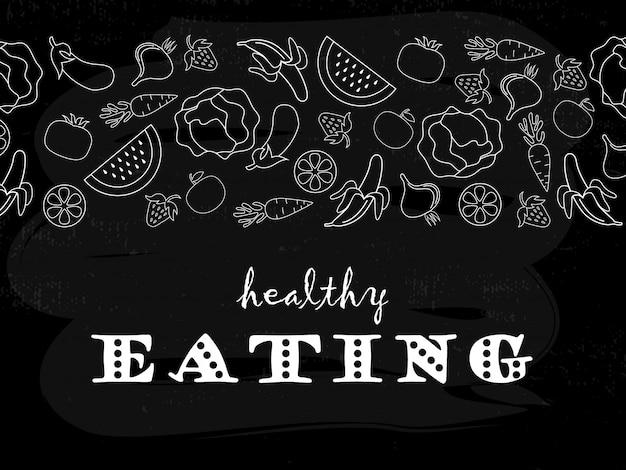 Cartaz de tipografia saudável comer Vetor Premium