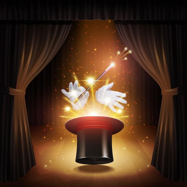 Cartaz de truque de mágica Vetor grátis