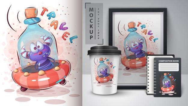 Cartaz de ufo de garrafa e merchandising Vetor Premium