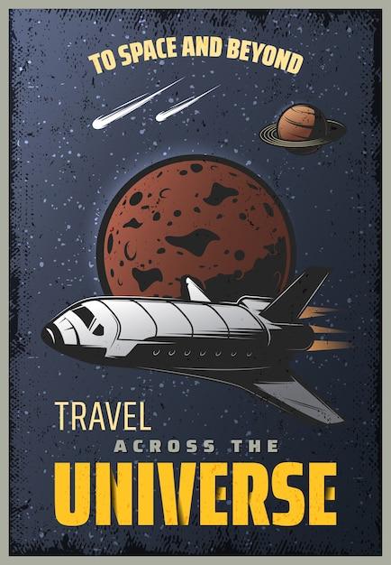 Cartaz de universo colorido vintage com inscrição de nave espacial cometas e planetas caindo no fundo do espaço Vetor grátis