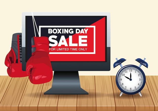 Cartaz de venda de dia de boxe com área de trabalho e despertador vector design ilustração Vetor Premium