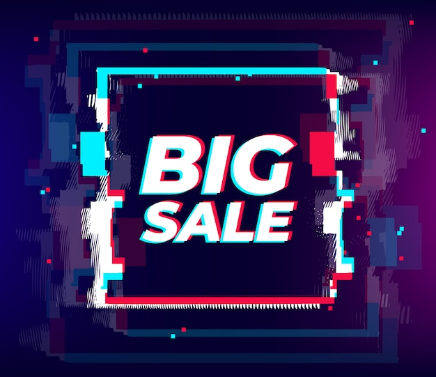 Cartaz de venda de falha, efeito distorcido de falha. néon grande venda cyber colorido modelo de elementos abstratos, sexta-feira negra para web, internet, impressão e publicidade. Vetor Premium