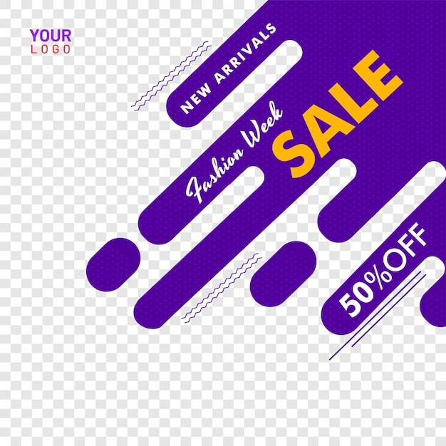Cartaz de venda de moda semana ou banner design, 50% de desconto em oferta Vetor Premium