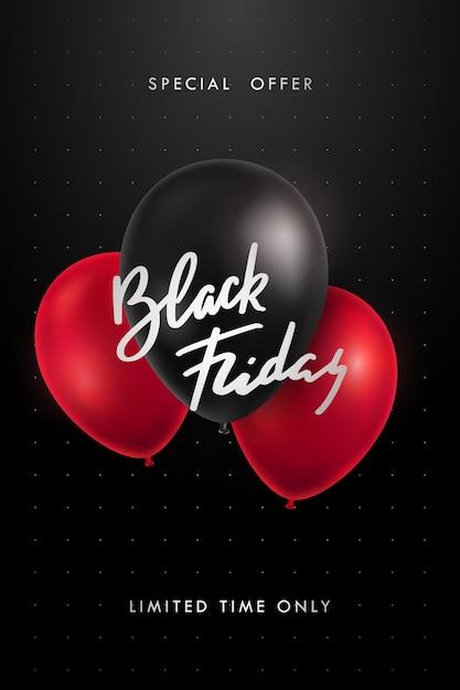 Cartaz de venda de sexta-feira negra com texto e balões brilhantes pretos e vermelhos. Vetor Premium