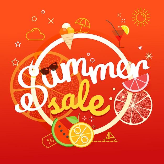 Cartaz de venda de verão Vetor Premium