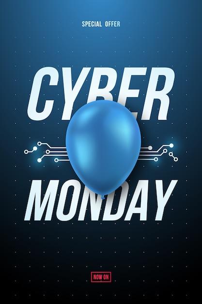 Cartaz de venda do cyber segunda-feira com texto e balão azul brilhante. Vetor Premium