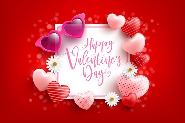 Cartaz de venda do dia dos namorados ou banner com querido e óculos de sol em forma de coração no vermelho. modelo de promoção e compras ou para o amor e dia dos namorados Vetor Premium