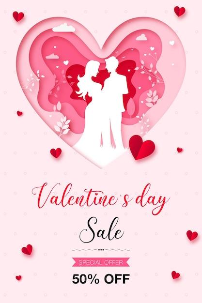Cartaz de venda feliz dia dos namorados Vetor Premium