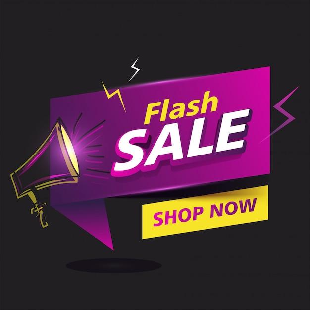 Cartaz de venda flash ou modelo de design com alto-falante. Vetor Premium