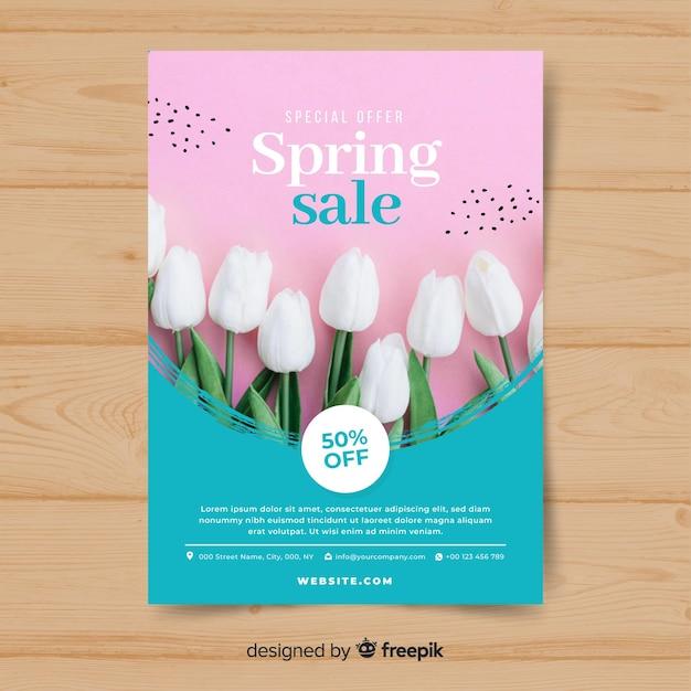 Cartaz de venda fotográfica primavera Vetor grátis