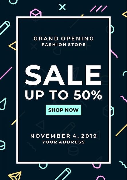 Cartaz de venda minimalista Vetor Premium