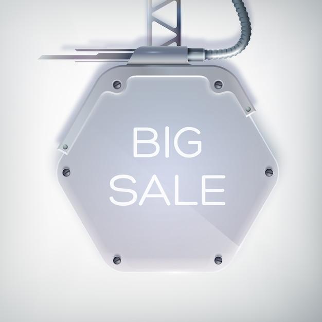 Cartaz de venda moderno com grande liquidação de palavras no outdoor hexagonal de metal e um suporte no fundo cinza Vetor grátis