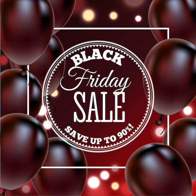 Cartaz de venda sexta-feira negra com balões brilhantes Vetor Premium