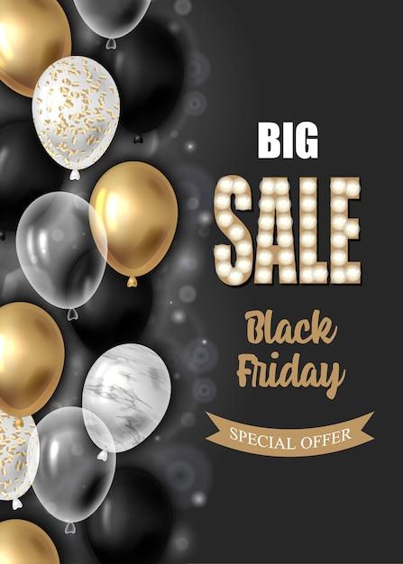 Cartaz de venda sexta-feira negra com balões. Vetor Premium