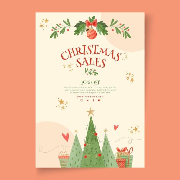 Cartaz de vendas de natal a4 Vetor Premium