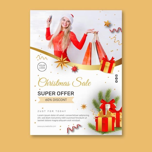Cartaz de vendas de natal a4 Vetor grátis