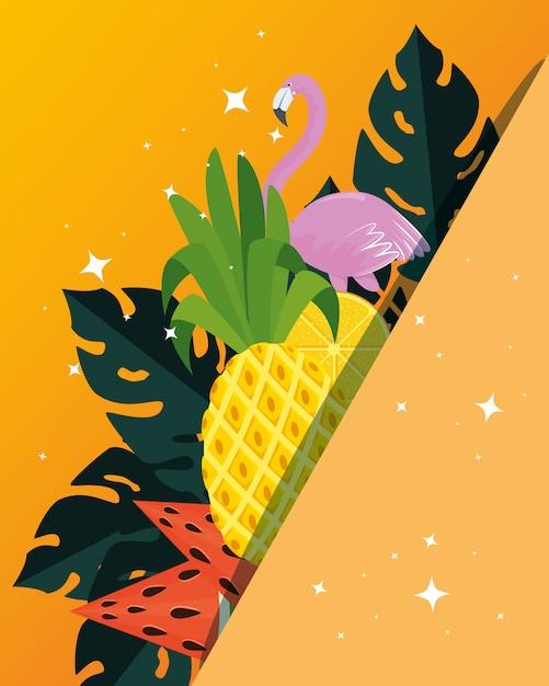 Cartaz de verão com abacaxi tropical e flamengo Vetor Premium