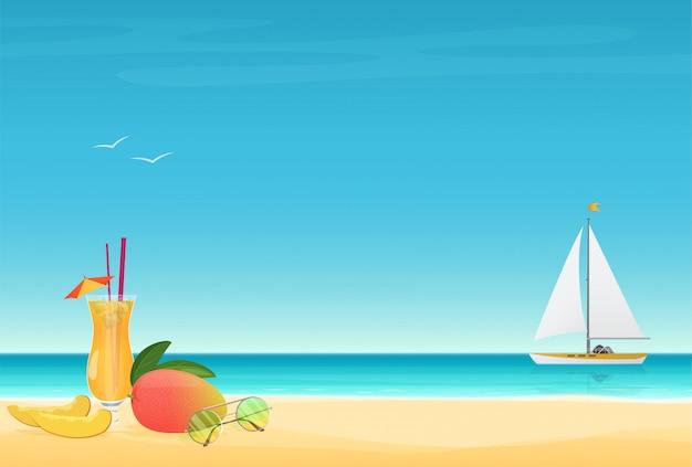 Cartaz de verão com iate Vetor Premium