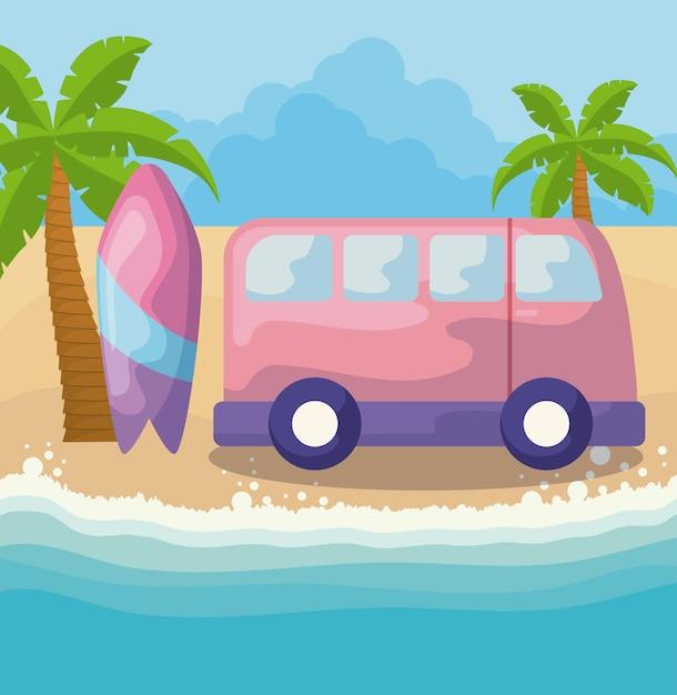 Cartaz de verão com prancha de surf e van na praia Vetor Premium