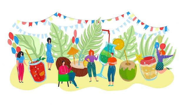 Cartaz de verão coquetel com bebidas alcoólicas em copos e pessoas minúsculas comemorando a ilustração de evento de feriado. festa de coquetel com limão, coco, licor e refrescos. Vetor Premium