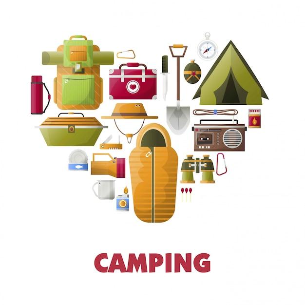 Cartaz de vetor acampamento de acampamento de ícones de ferramentas de acampamento Vetor Premium