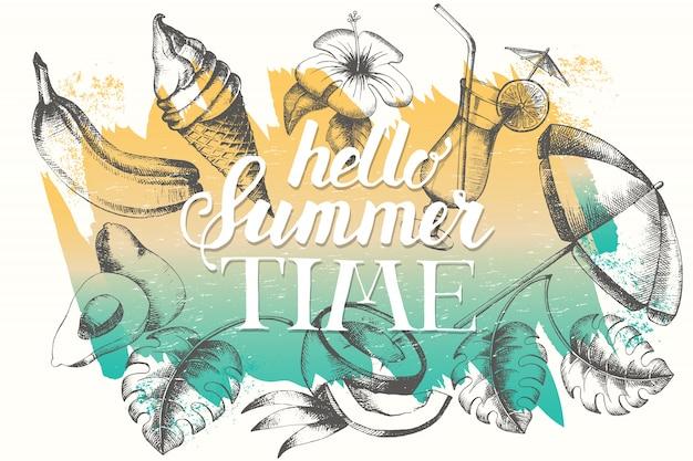 Cartaz de vetor com objetos tropicais e verão em fundo de traçado de pincel. Vetor Premium