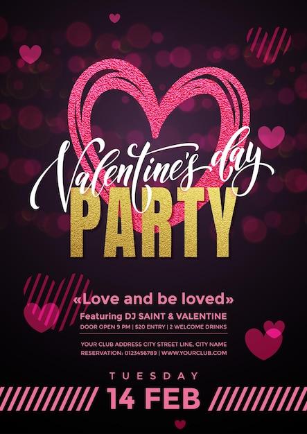Cartaz de vetor de festa de dia dos namorados de corações em fundo de luzes cintilantes de glitter rosa premium Vetor Premium