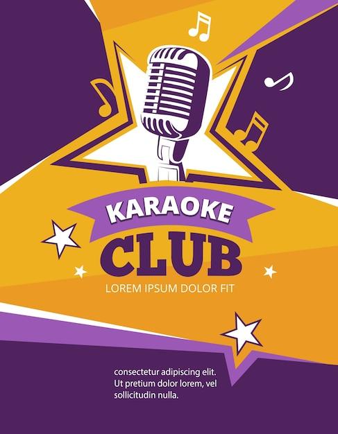 Cartaz de vetor de festa de karaoke Vetor Premium