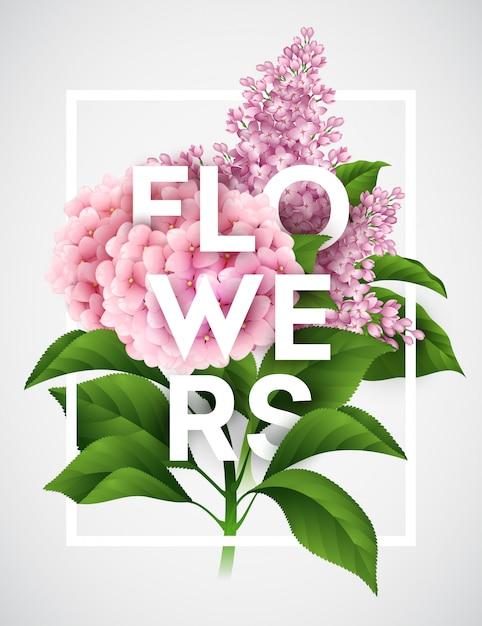 Cartaz de vetor elegante com lindas flores Vetor Premium