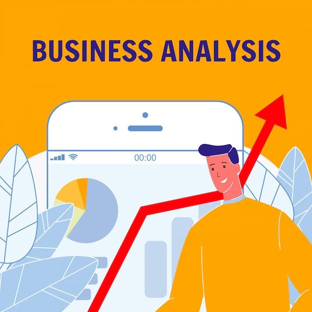 Cartaz de vetor plana de análise de negócios com texto Vetor Premium