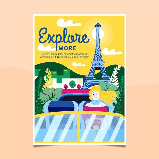Cartaz de viagem ilustrado Vetor grátis