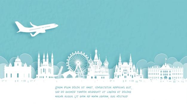 Cartaz de viagens com boas-vindas a moscou, rússia Vetor Premium