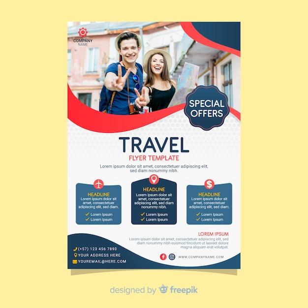 Cartaz de viagens modelo com foto Vetor grátis