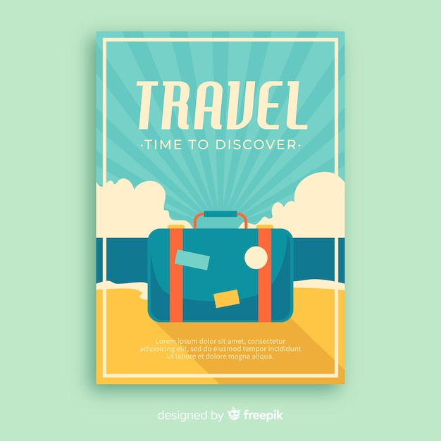 Cartaz de viagens promocionais vintage plana Vetor grátis