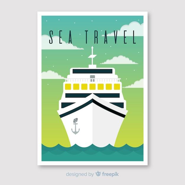 Cartaz de viagens vintage plana Vetor grátis