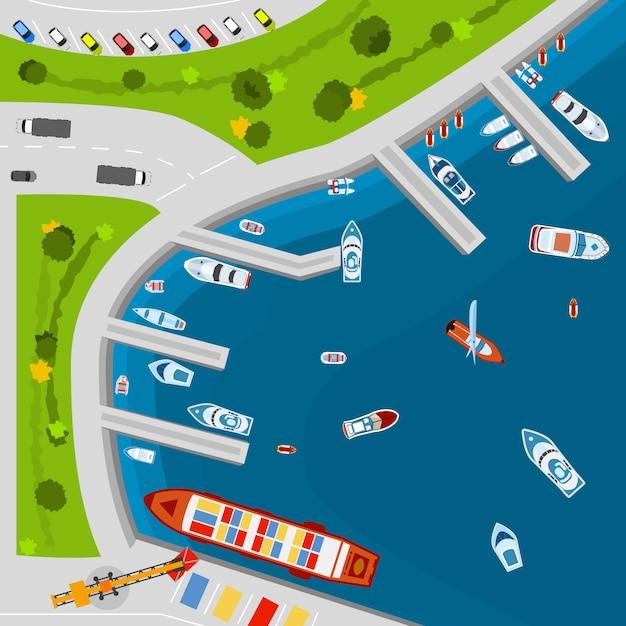 Cartaz de vista aérea superior de porto à beira-mar Vetor grátis