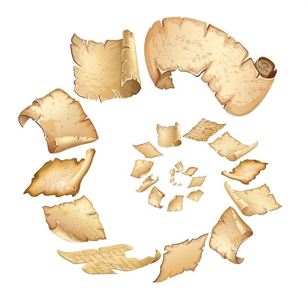 Cartaz de voar antigos pergaminhos reais. Vetor grátis